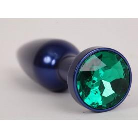 Большая синяя анальная пробка с зеленым стразом - 11,2 см.