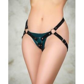 Изумрудные трусики для страпона Ladys Arsenal с замшевыми ремешками